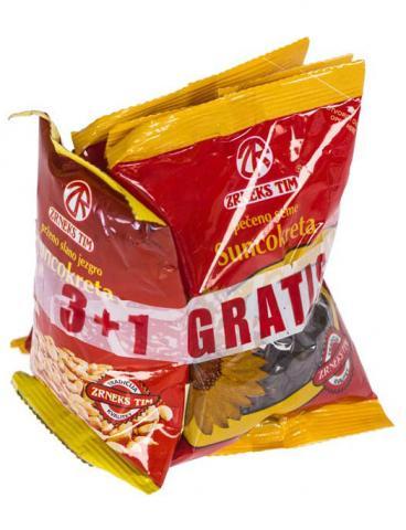 "3+1 gratis pečeno seme suncokreta ""GRICKO"" 50g x 3 kom + prženo slano jezgro suncokreta 50g"